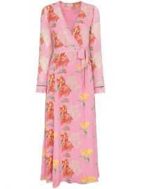 Ganni Pink Floral Marceau Georgette Midi Dress at Farfetch
