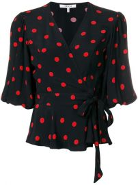 Ganni Polka Dot Wrap Blouse - Farfetch at Farfetch