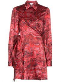 Ganni Printed Wrap Mini Dress - Farfetch at Farfetch