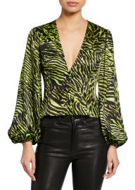 Ganni tiger print blouse at Bergdorf Goodman