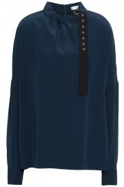 Gathered Buckle-Detailed Silk Blouse at The Outnet