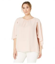 Gathered Crew Neck Cape Blouse at Zappos