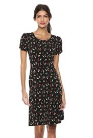 Gathered Short Sleeve Crew Neck Fit and Flare Dress at Amazon