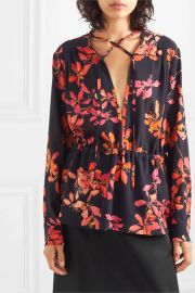 Gathered floral-print crepe de chine blouse at Net a Porter