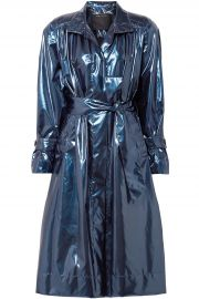 Gathered metallic vinyl trench coat at The Outnet