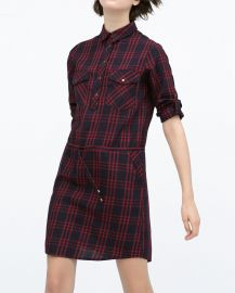 Gathered waist checked dress at Zara