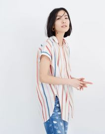 Gauze Central Tunic Shirt in Rainbow Stripe at Madewell