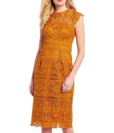 Gena High Neck Cap Sleeve Lace Sheath Dress at Dillards
