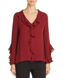 Genny Silk Ruffle-Trimmed Blouse at Bloomingdales
