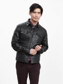 Genuine Leather shirt jacket at Banana Republic