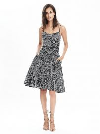 Geo Lace Strappy Dress at Banana Republic