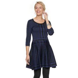 Geometric  Fit  Flare Dress by Nina Leonard at Kohls