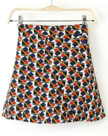 Geometric Print Skirt at Romwe