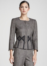 Geometric inset jacket by Rena Lange at Neiman Marcus