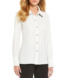 Georgette Double Collar Houndstooth Print Blouse by Karl Lagerfeld Pari at Dillards