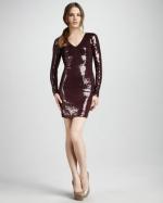 Georgina's burgundy sequin dress at Neiman Marcus