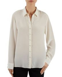 Gerard Darel Baume Scalloped Silk Blouse at Bloomingdales