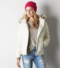 Get Down Hooded Puffer Jacket at American Eagle