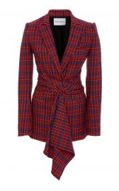 Ghar Wrap-Front Plaid Blazer at Moda Operandi