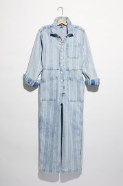 Gia Denim Stripe Coverall at Free People