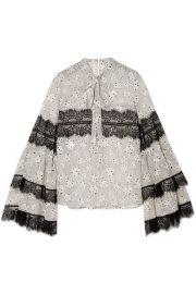 Giambattista Valli   Pussy-bow lace-trimmed printed silk-chiffon blouse at Net A Porter