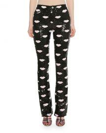 Giambattista Valli Lip-Embroidered Skinny Sequin Pants at Neiman Marcus