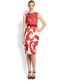Giambattista Valli Mixed Media Floral Dress  at Saks Fifth Avenue