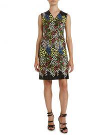 Giambattista Valli Sleeveless Multi-Print Dress at Neiman Marcus