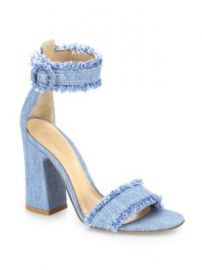 Gianvito Rossi - Kiki Frayed Denim Ankle-Strap Block-Heel Sandals at Saks Fifth Avenue