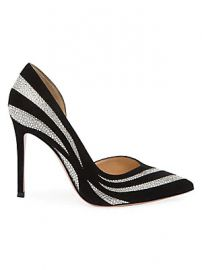 Gianvito Rossi - Glitter Stripe Suede  amp  Silk Pumps at Saks Fifth Avenue