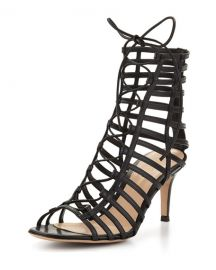 Gianvito Rossi Caged Leather Lace-Up Sandal  Black   Neiman Marcus at Neiman Marcus