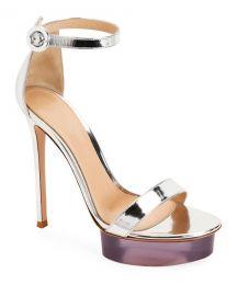 Gianvito Rossi Metallic Metal Rubber Sandals at Neiman Marcus