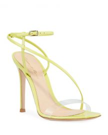 Gianvito Rossi Patent Clear-Strap Asymmetric Sandals at Neiman Marcus