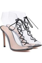 Gianvito rossi Helmut Plexi 100 lace-up PVC and leather ankle boots at Net A Porter