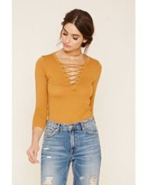 Contemporary Lace-Up V-Neck Top at Forever 21