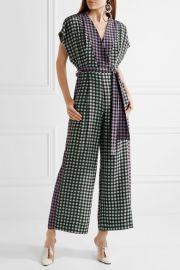 Gingham silk crepe de chine jumpsuit by Diane von Furstenberg at Net A Porter