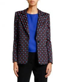 Giorgio Armani Geometric Jacquard Button-Front Jacket at Neiman Marcus