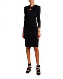Giorgio Armani Keyhole-Front 3 4-Sleeve Milano Jersey Dress at Neiman Marcus