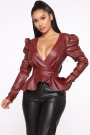 Girl In The City PU Leather Blouse at Fashion Nova