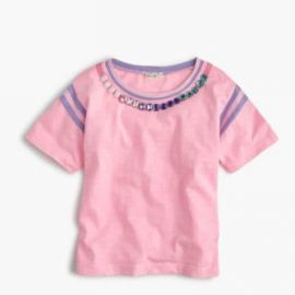 Girls  striped gem necklace T-shirt at J. Crew