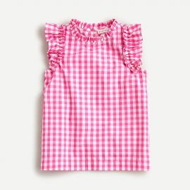 Girls\' Gingham Ruffle Top by J. Crew at J. Crew