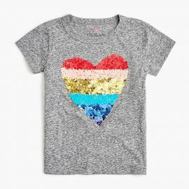 Girls\\\' Reversible Sequin Heart T-shirt at J. Crew