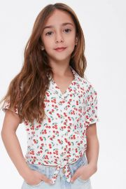 Girls Cherry Self-Tie Shirt  at Forever 21
