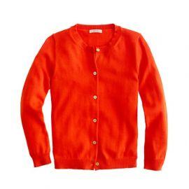 Girls garment-dyed Caroline cardigan in Red at J. Crew