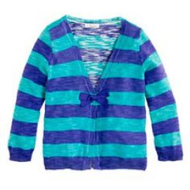 Girls rugby-stripe cardigan in blue at J. Crew