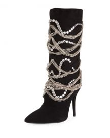 Giuseppe Zanotti Suede Mid-Calf Boot with Chain Detail at Neiman Marcus