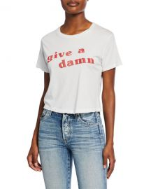 Give A Damn Babe Short-Sleeve Slogan Crop Tee at Neiman Marcus