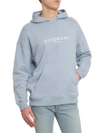 Givenchy Distressed Logo-Print Hoodie at Neiman Marcus