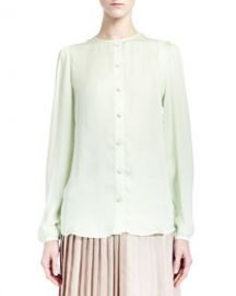 Givenchy Collarless Silk Charmeuse Blouse Pale Green at Neiman Marcus