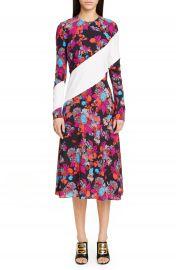 Givenchy Floral Stripe Print Crepe Midi Dress   Nordstrom at Nordstrom